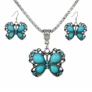 🦋gorgeous vintage silver turquoise butterfly set